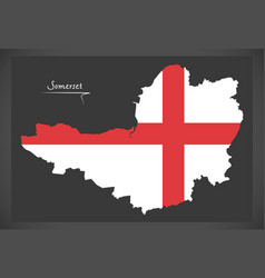 Somerset map england uk with english national flag vector