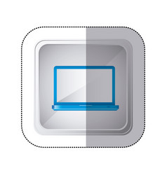 Sticker silver square button with blue tech laptop vector