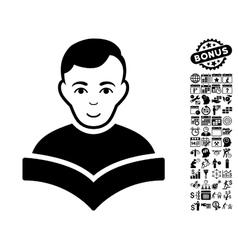 Student flat icon with bonus vector