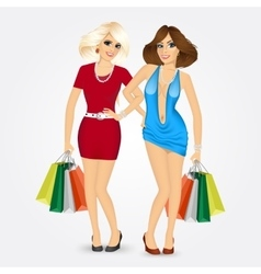 two women with shopping bags vector image vector image