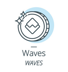 waves cryptocurrency coin line icon of virtual vector image vector image