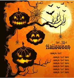 Orange grungy halloween background with pumpkins vector