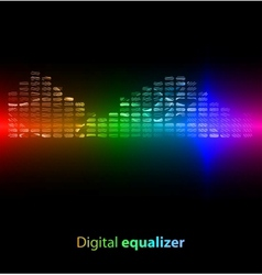 Colorful digital equalizer on black background vector