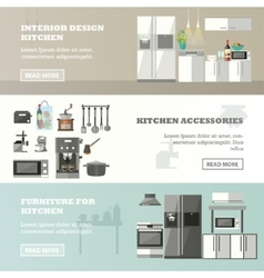 Set of banners with kitchen interior vector