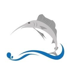 marlin fish emblem icon vector image