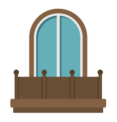 Retro balcony with an arched window icon isolated vector