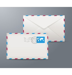 Postage envelope with stamps vector