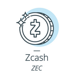 Zcash cryptocurrency coin line icon of virtual vector