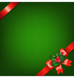 Xmas red ribbons with holly berry vector