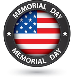 Memorial day black label with usa flag vector