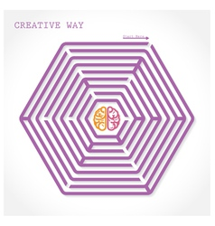 Creative hexagon maze way concept vector