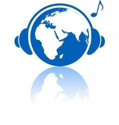 Earth music world headphones vector