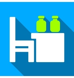 Apothecary table flat long shadow square icon vector