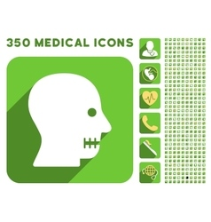 Sewn mouth icon and medical longshadow icon set vector