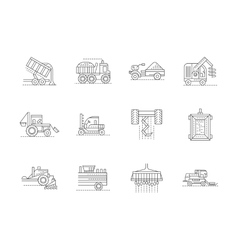 Agricultural machinery linear icons set vector