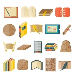 Book cartoon icons included normal typography vector