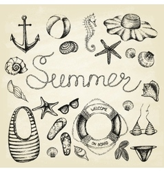 Hand drawn icons summer set vector