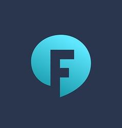 Letter F speech bubble logo icon design template vector image