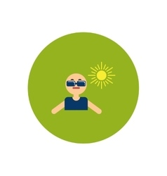 Stylish icon in color circle man in sunglasses vector