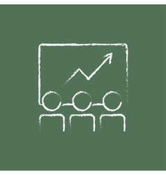 Business growth icon drawn in chalk vector image