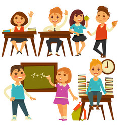 Children in school study at lessons flat vector