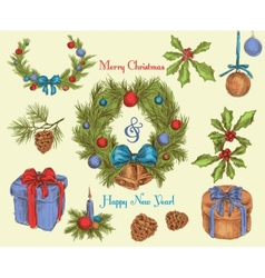 Christmas decoration sketch colored vector image vector image
