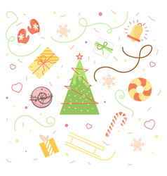 Collection of vintage merry christmas and happy ne vector