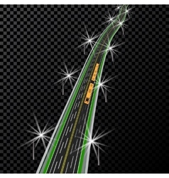 Curved highway in perspective yellow and white vector