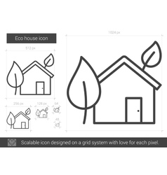Eco house line icon vector image vector image