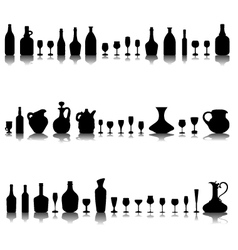 Glasses and bottles of wine vector image vector image