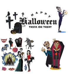 Halloween backgrounds with vampire and their vector