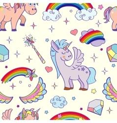hand drawn unicorns and magic seamless vector image
