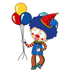 Happy clown with colorful balloons vector