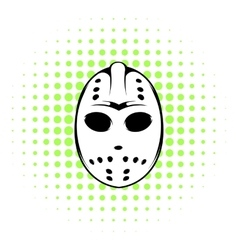 Hockey mask icon comics style vector