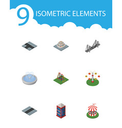 isometric architecture set of phone box path vector image vector image