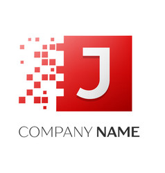 Letter j logo symbol in the colorful square with vector