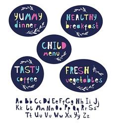 Modern alphabet stylish lettering dinner vector