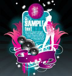 musical theme with girl vector image vector image