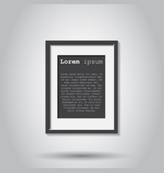Realistic photo frame isolated on gray background vector