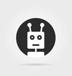 Round chatbot icon with shadow vector