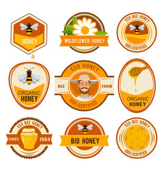 set labels for honey template with place vector image vector image