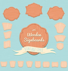 Set of wooden signboards Flat style vector image vector image