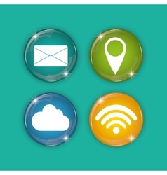 Social media and networking icons set vector