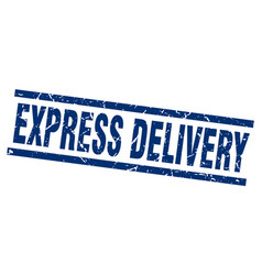 Square grunge blue express delivery stamp vector