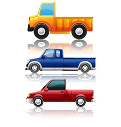 Three different kinds of trucks vector