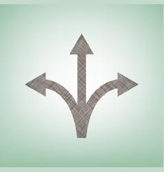 three-way direction arrow sign brown flax vector image vector image