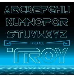 Troy retro looking font neon effect typeface vector image