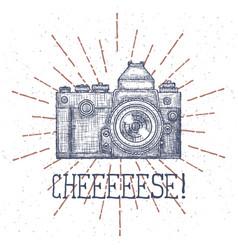 vintage old photo camera logo hand vector image