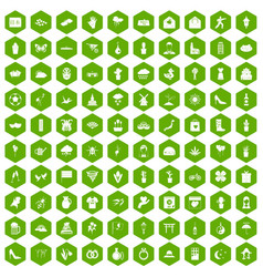 100 flowers icons hexagon green vector