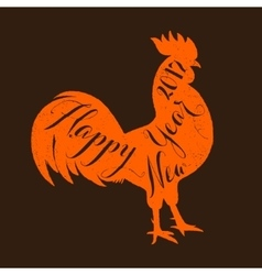 Lettering congratulation on the rooster s body vector